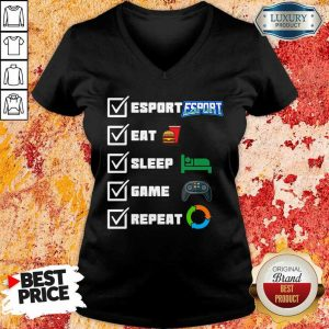 Angry Esport Eat Sleep Game Repeat 6 V-neck