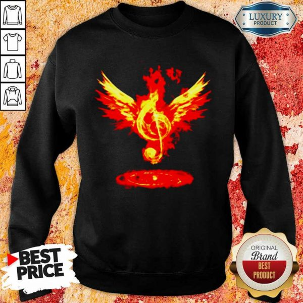 Anxious 5 Music Note Fire Angel Sweatshirt