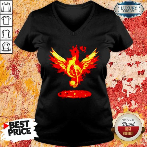 Anxious 5Music Note Fire Angel V-neck