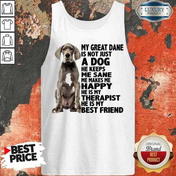 My Great Dane Is Not Just A Dog He Keeps Me Sane Me Makes Me Happy He Is My Therapist He Is My Best Friend Tank Top