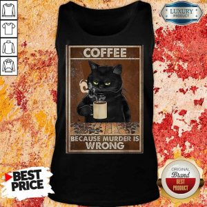 Black Cat Confident Drink 2 Coffee Tank Top