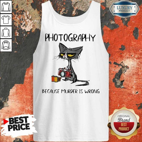 Official Photography Because Murder Is Wrong Black Cat Tank Top