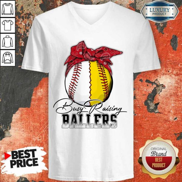 Perfect Just A Mom Busy Raising Ballers 147 V-Neck