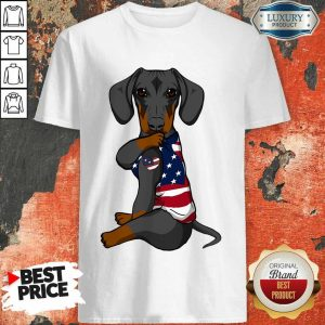 Awesome Dachshund Dog Tattoo Heart American Flag Shirt