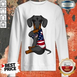 Awesome Dachshund Dog Tattoo Heart American Flag Sweatshirt