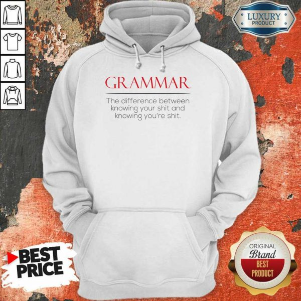Perfect Grammar The Difference Between Knowing Your Shit And Knowing Youre Shit Hoodie