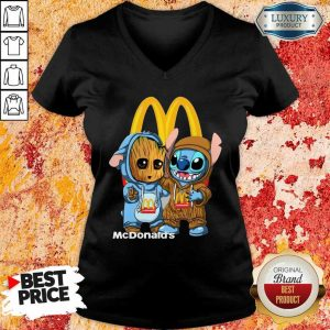 Top Baby Groot And Stitch McDonalds V-Neck