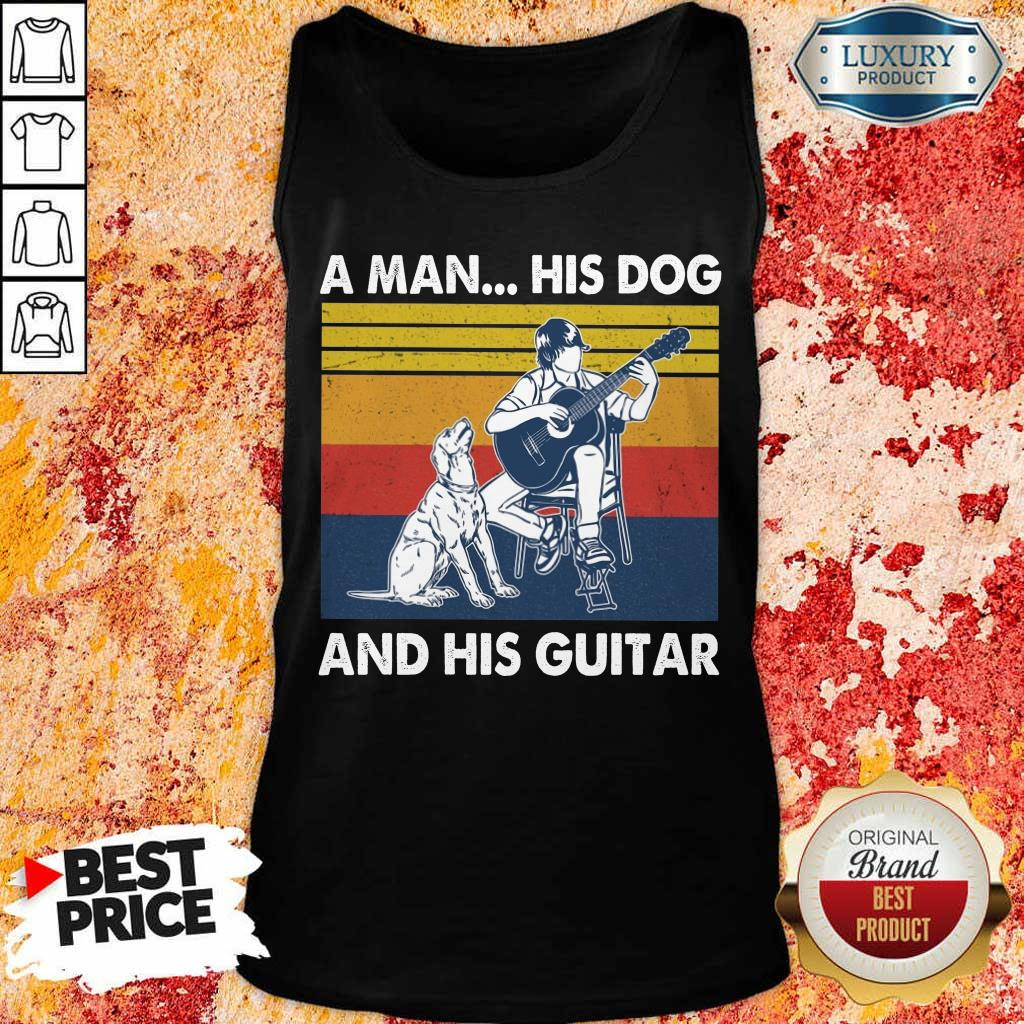 A Man His Dog And His Guitar Vintage Tank Top
