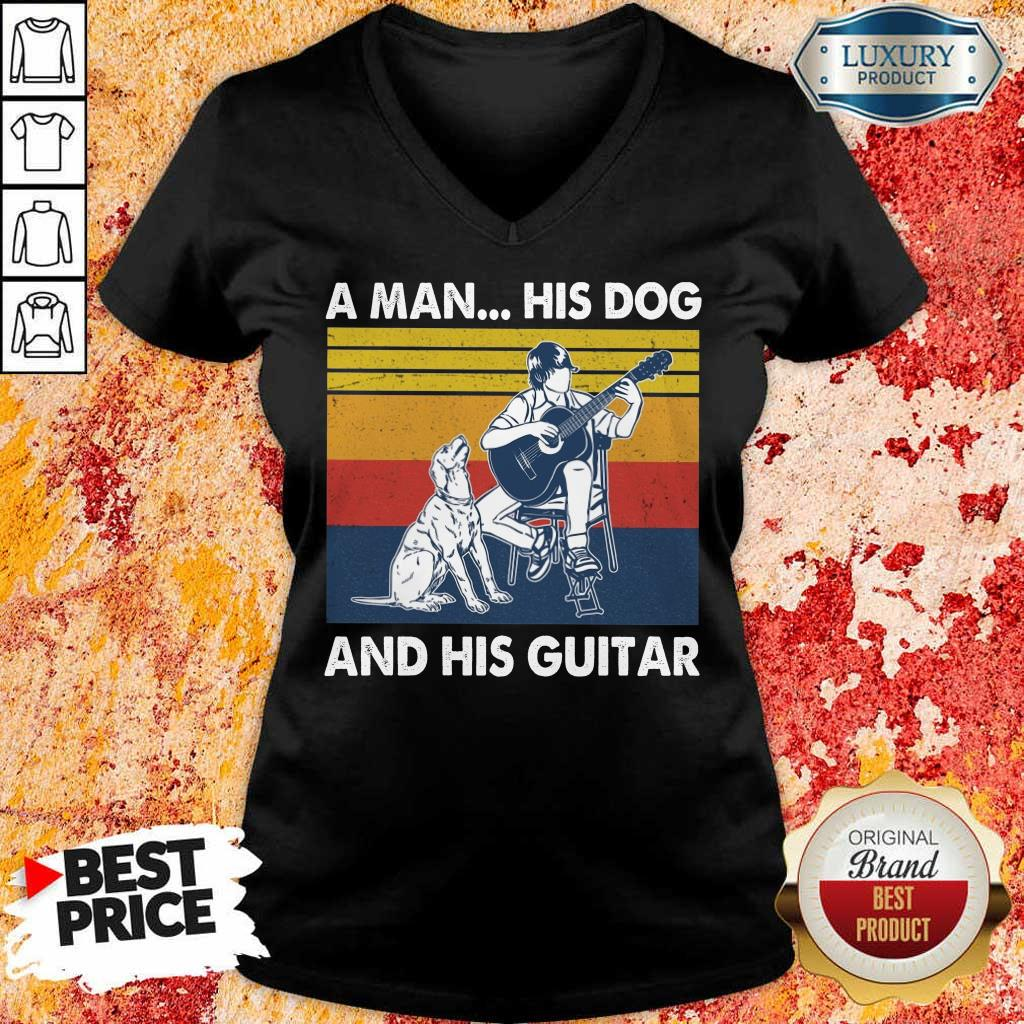 A Man His Dog And His Guitar Vintage V-Neck