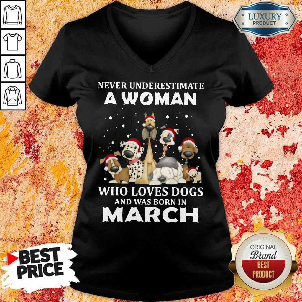 A Woman Who Love Dogs March V-Neck
