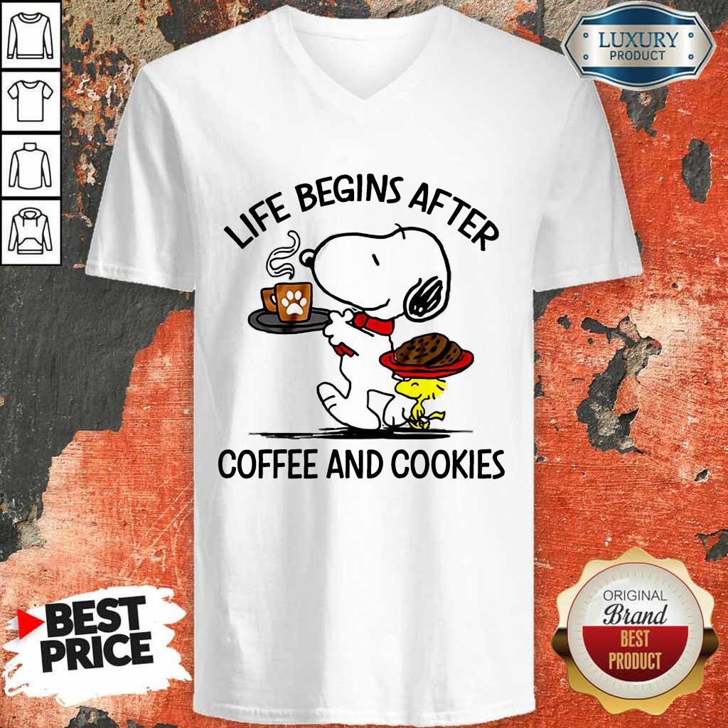 Life Begins After Coffee And Cookies V-Neck