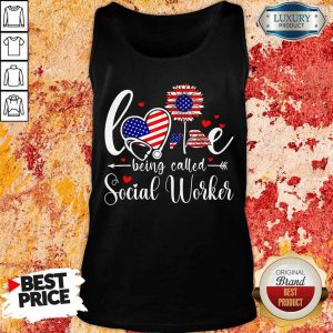 American Flag Sunflower Love Being Called Social Worker Tank Top
