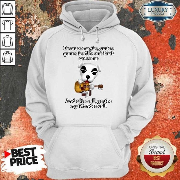 Because Maybe You're Gonna Be The One That Saves Me And After All You're My Wonderwall Dog Playing Guitar Hoodie
