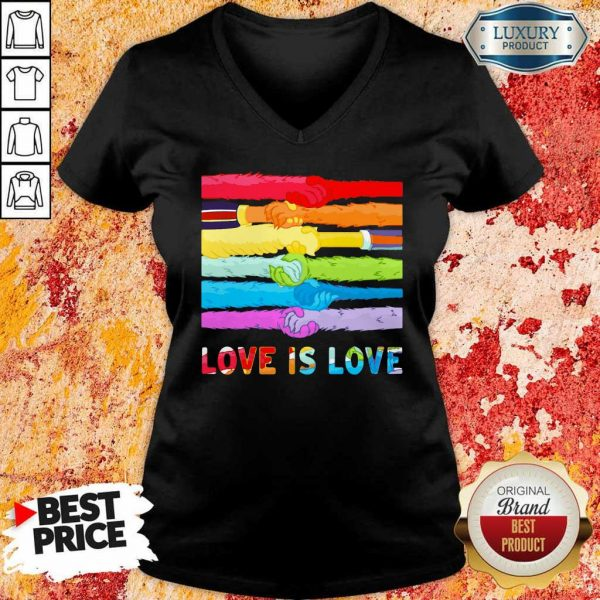 Love Is Love LGBT Hold Hand V-Neck