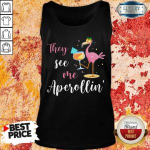 They See Me Aperolling Flamingo Drink Wine Tank Top