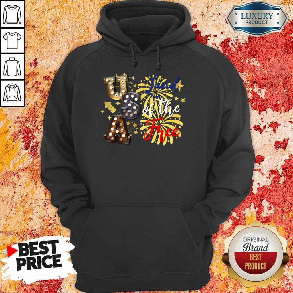 USA Land Of The Free Firework 4th Of July  Hoodie