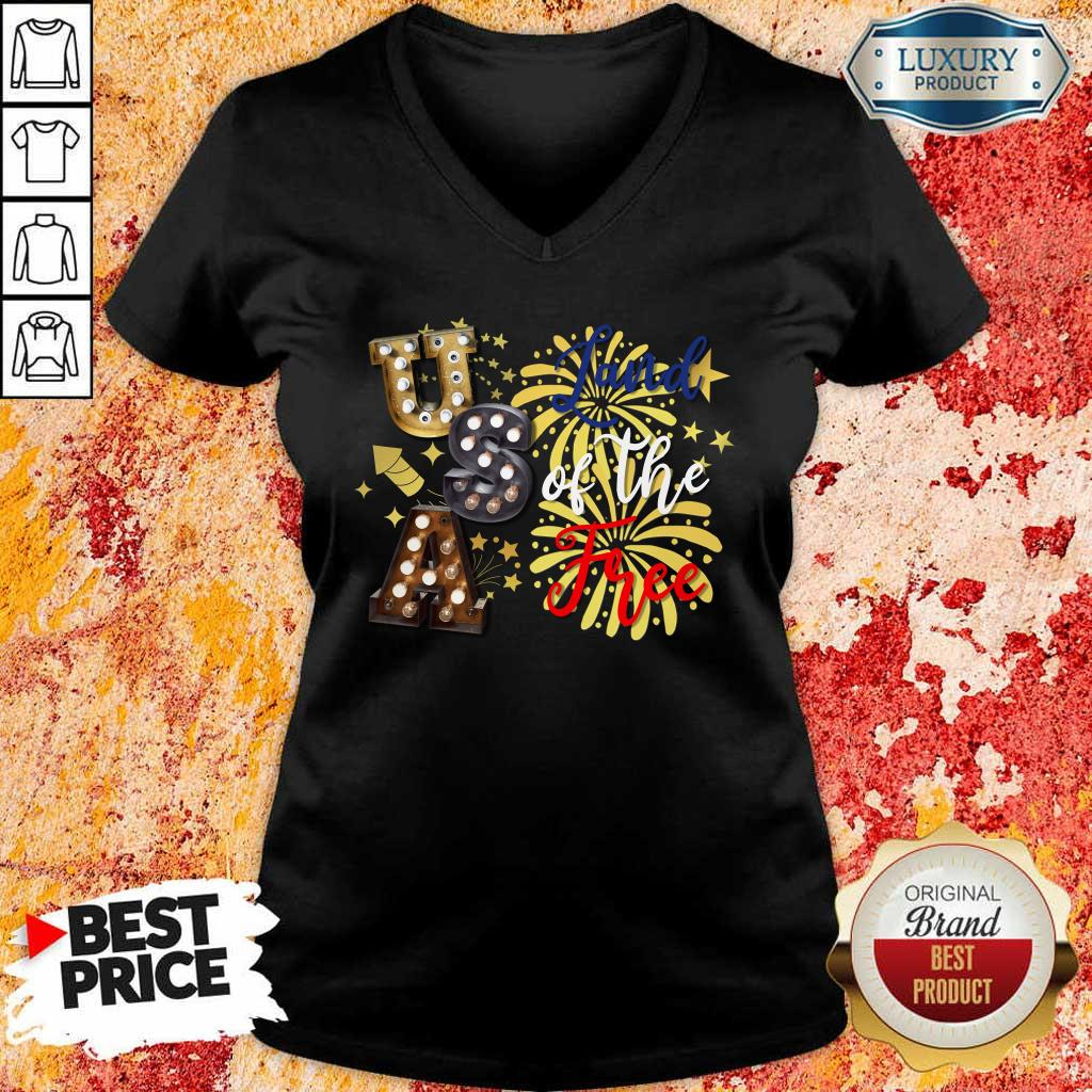 USA Land Of The Free Firework 4th Of July V-Neck