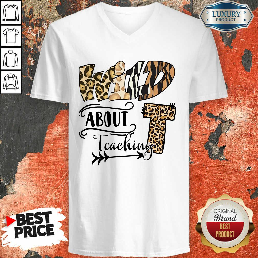 Wild T About Teaching Leopard V-neck