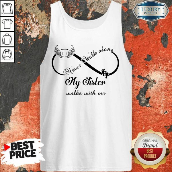 Wings And Paw Never Walk Along My Sister Walks With Me Tank Top