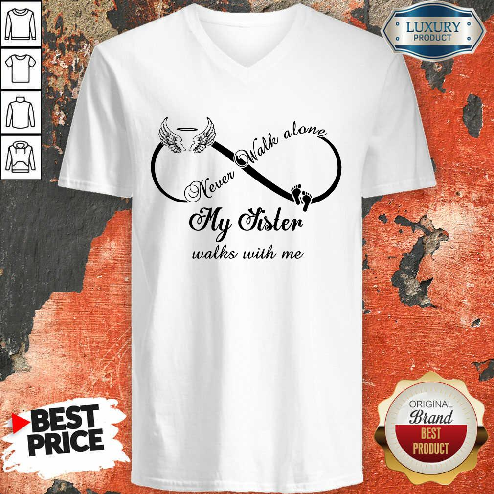 Wings And Paw Never Walk Along My Sister Walks With Me V-neck