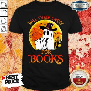 Boos Will Trade Candy For Books Blood Moon Halloween Shirt