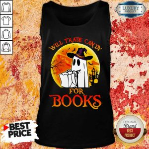 Boos Will Trade Candy For Books Blood Moon Halloween Tank Top