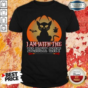 I Am With The Black Cat Halloween Shirt