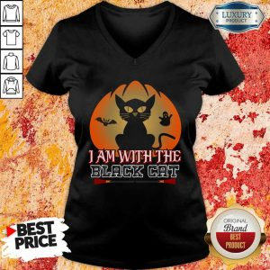 I Am With The Black Cat Halloween V-neck