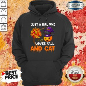 Just A Girl Who Loves Fall And Cat Witch Pumpkin Halloween Hoodie