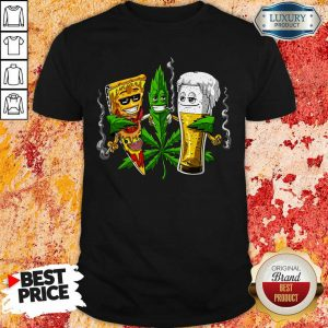 Weed Leaf Pizza And Beer Shirt