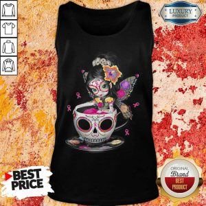 Breast Cancer Girl Sugars Skull Halloween Day Of Dead Tank Top
