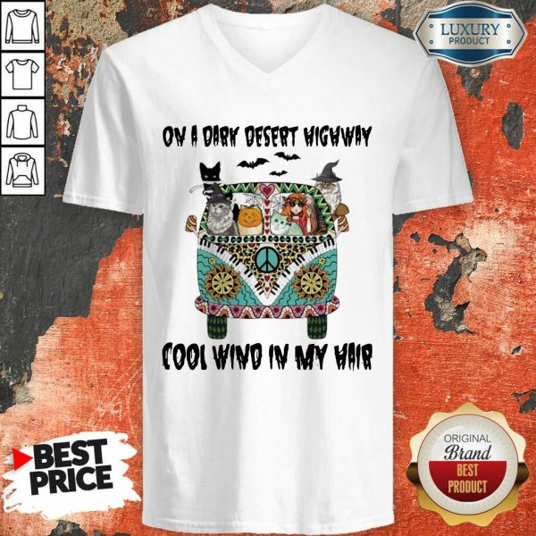 Cats And Hippie Girl On A Dark Desert Highway Cool Wind In My Hair Halloween V-neck