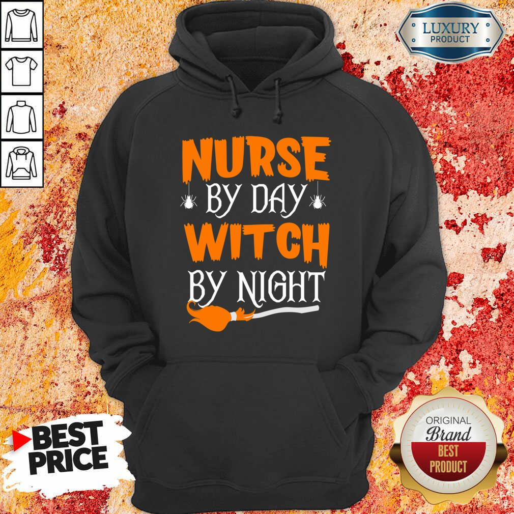 Nurse By Day Witch By Night Halloween Hoodie