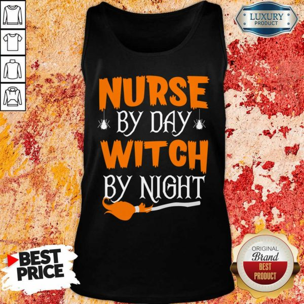 Nurse By Day Witch By Night Halloween Tank Top